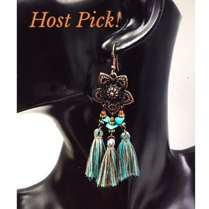 Jewelry - BOHO TURQUOISE TASSEL EARRINGS